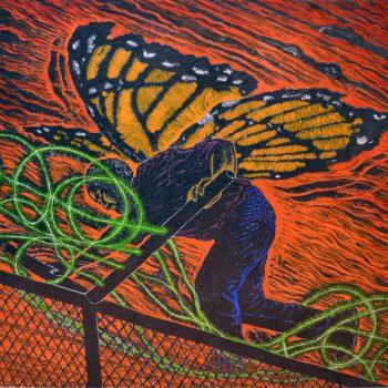 "Oscar Moya, ""Migrant Journey (Viaje migrante),"" 2016. lLinocut on papera and gouache / linóleo sobre papel y gouache"