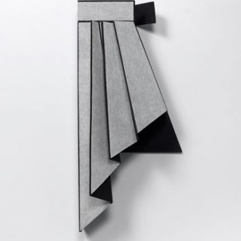 "Diane Simpson, ""Peplum III,"" 2014. MDF, oil stain, spunbound polyester, gessoed linin canvas and colored pencil; 41 x 19 x 11 inches"