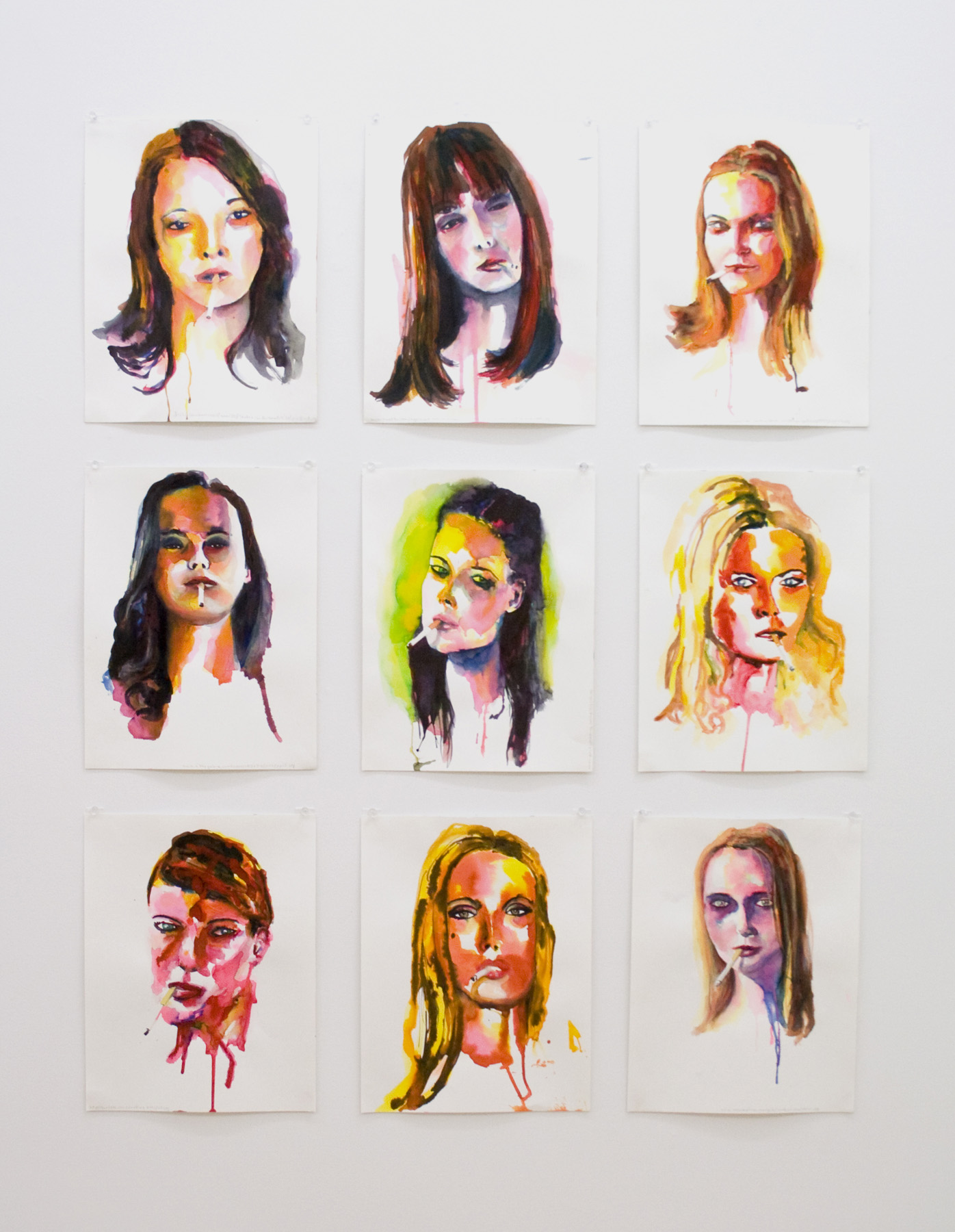 """Randy Moore, """"Smokers (set 1),"""" 2007, Watercolor on paper"""