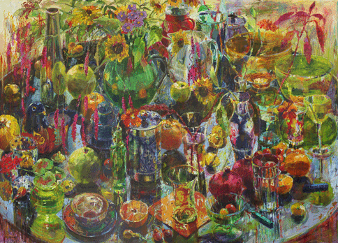 "Carol Stewart, ""All My Stuff,"" oil on paper on board"