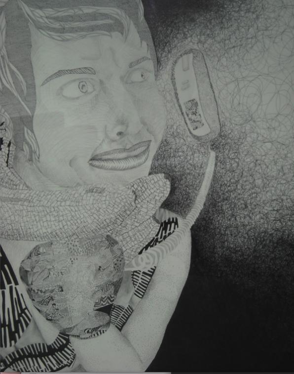 Kara Webbel, Banana Phone, pen and pencil on paper