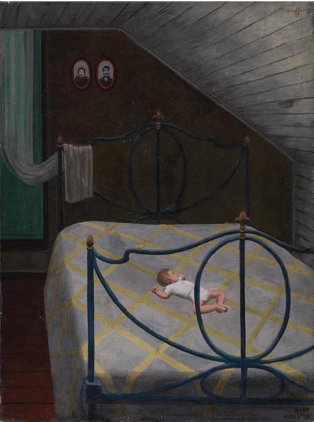 """Siesta Upstairs,"" c. 1945, oil on panel"