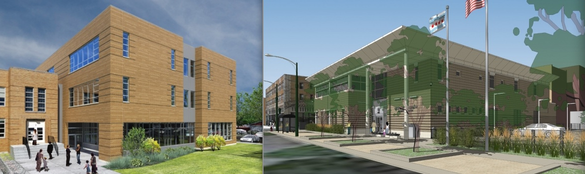 Designs approved by the public via the Public Building Commission: Nathan Hale Elementary School Annex and the Edgewater Branch Library.