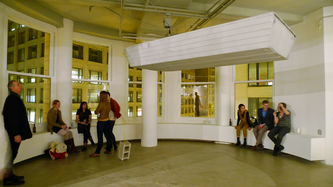 Another trend at SAIC's MFA is balancing acts in sculpture and installation art.