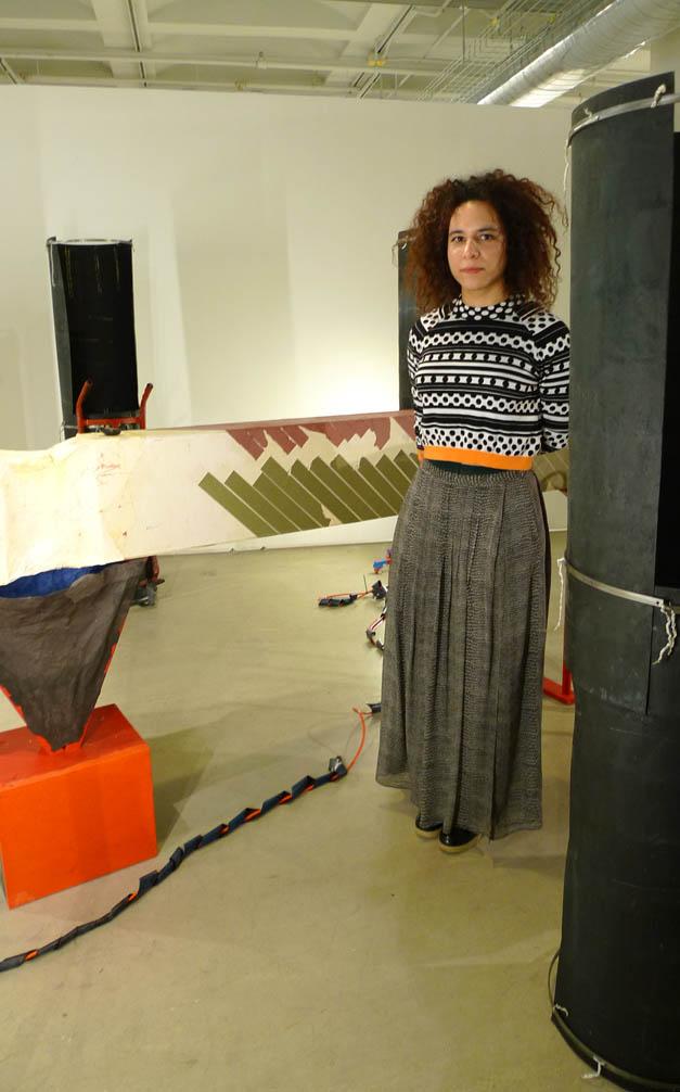 Anastasia Douka with her installation.
