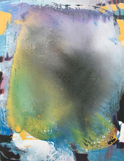 "Jackie Saccoccio, ""Portrait: Circuit,"" oil and mica on linen, 2013"