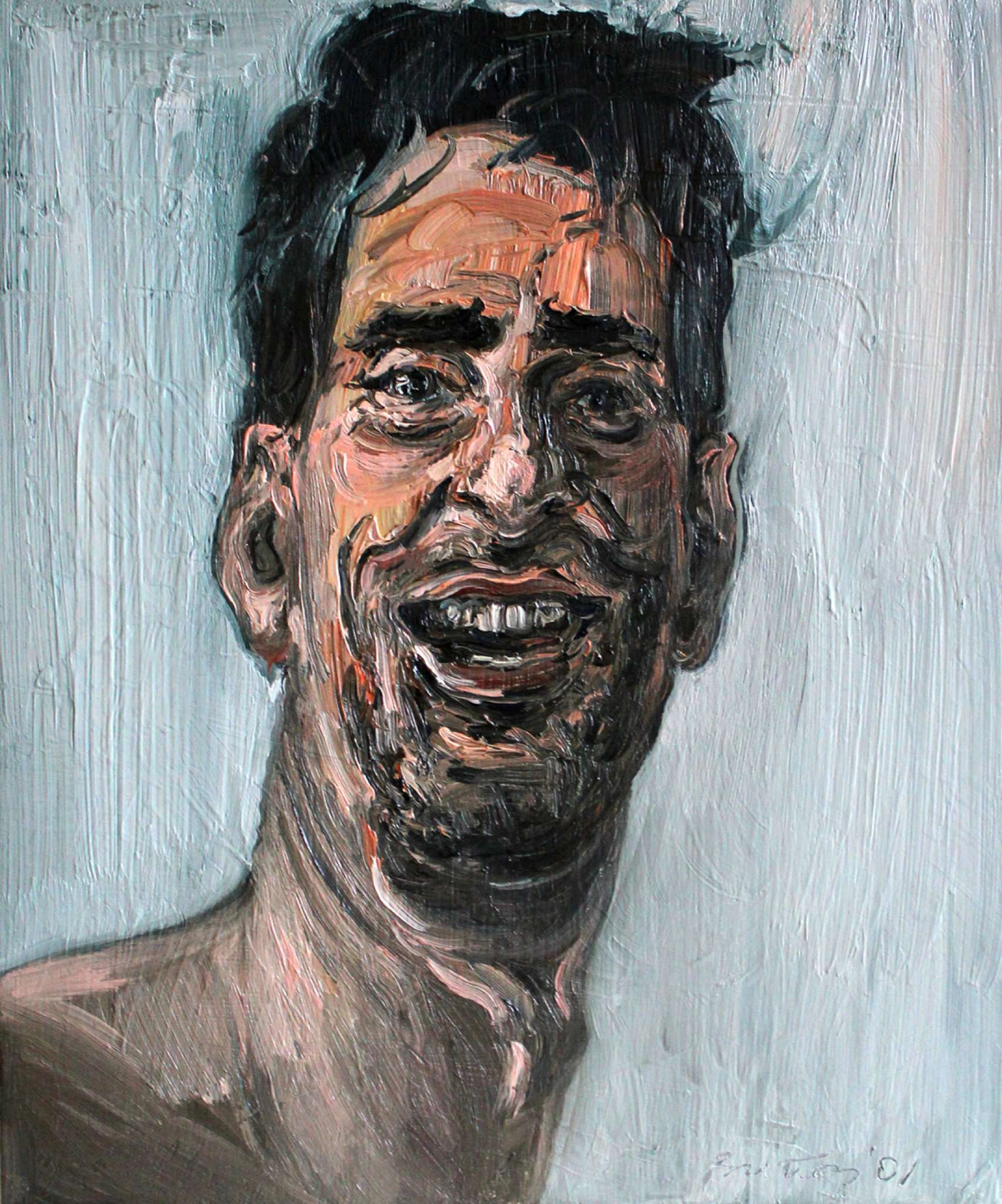"""Laughing Self Portrait,"" oil on panel, 2001"