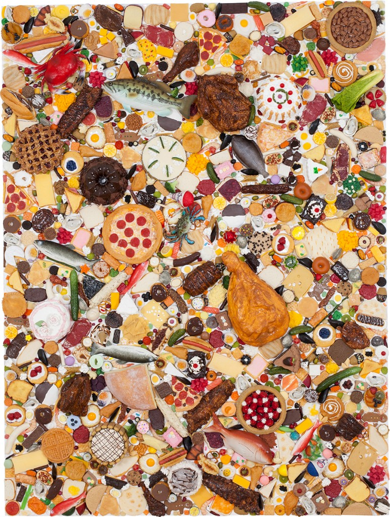 """Food Painting,"" resin and mixed media on panel, 2014"
