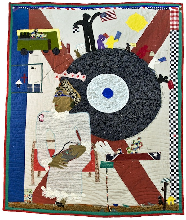 """Yvonne Wells, """"Rosa Parks I,"""" cotton, polyester and plastic buttons, 2005"""