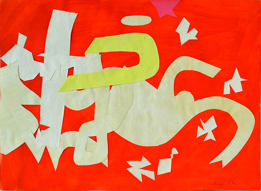 "Perle  Fine. ""Tantrum II,"" gouache and fold-over collage on paper, 1959"