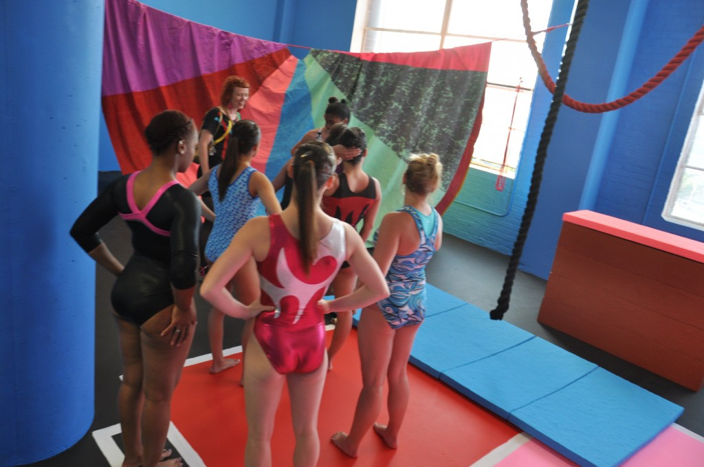 "Macon Reed and the gymnasts who performed ""Team Spirited"" in her installation ""Physical Education."" Photo by Mat Wilson"