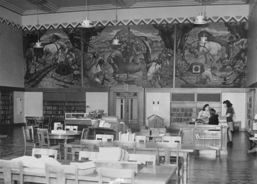 """Santos Zingale's mural """"The Landing of Captain Knapp at Racine"""" when it was installed in the Mitchell Elementary School library in Racine, Wisconsin"""
