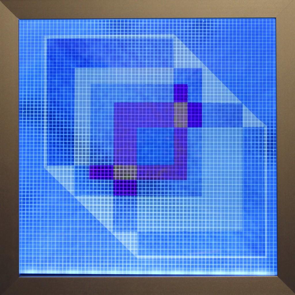 "Jeroen Nelemans. ""Homage to the Cube #6,"" custom-made light box, polarizing filters, Cellophane and Plexiglas, 2014"
