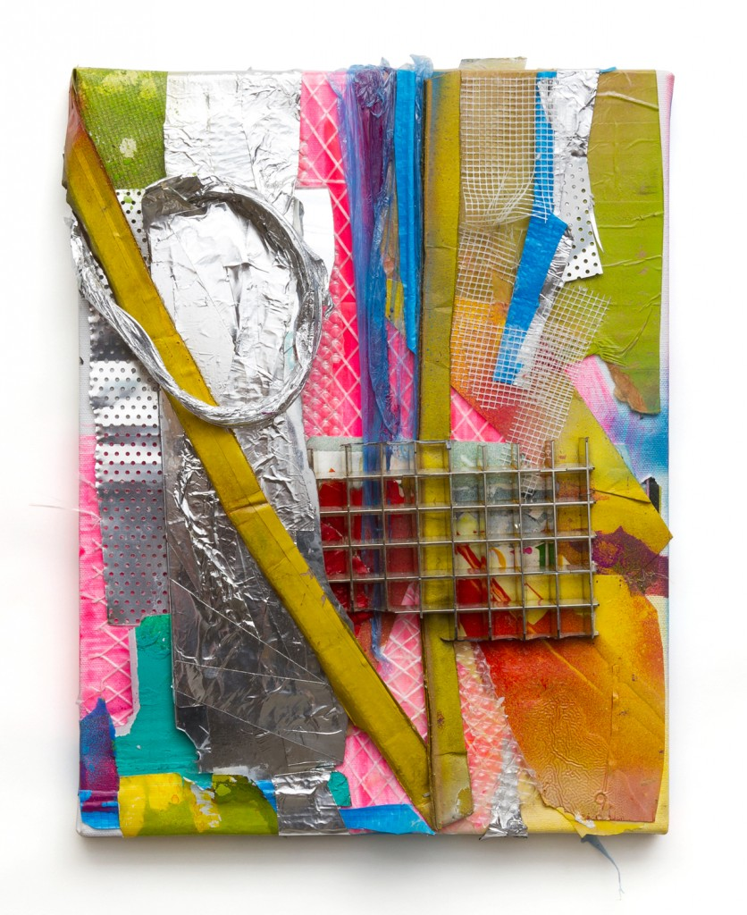 """Fake and Real Things (13),"" spray paint, acrylic, tape and other found residues on canvas, 2013"