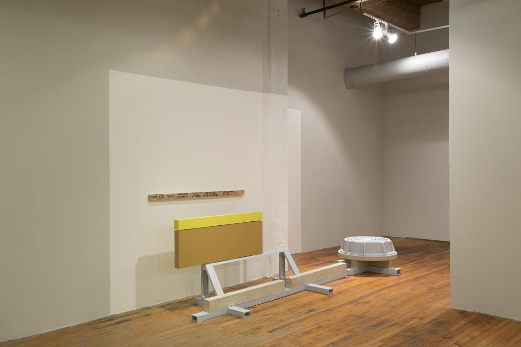 """Stpehen Reber. """"Dredge,"""" wood, concrete, paint, 2014"""
