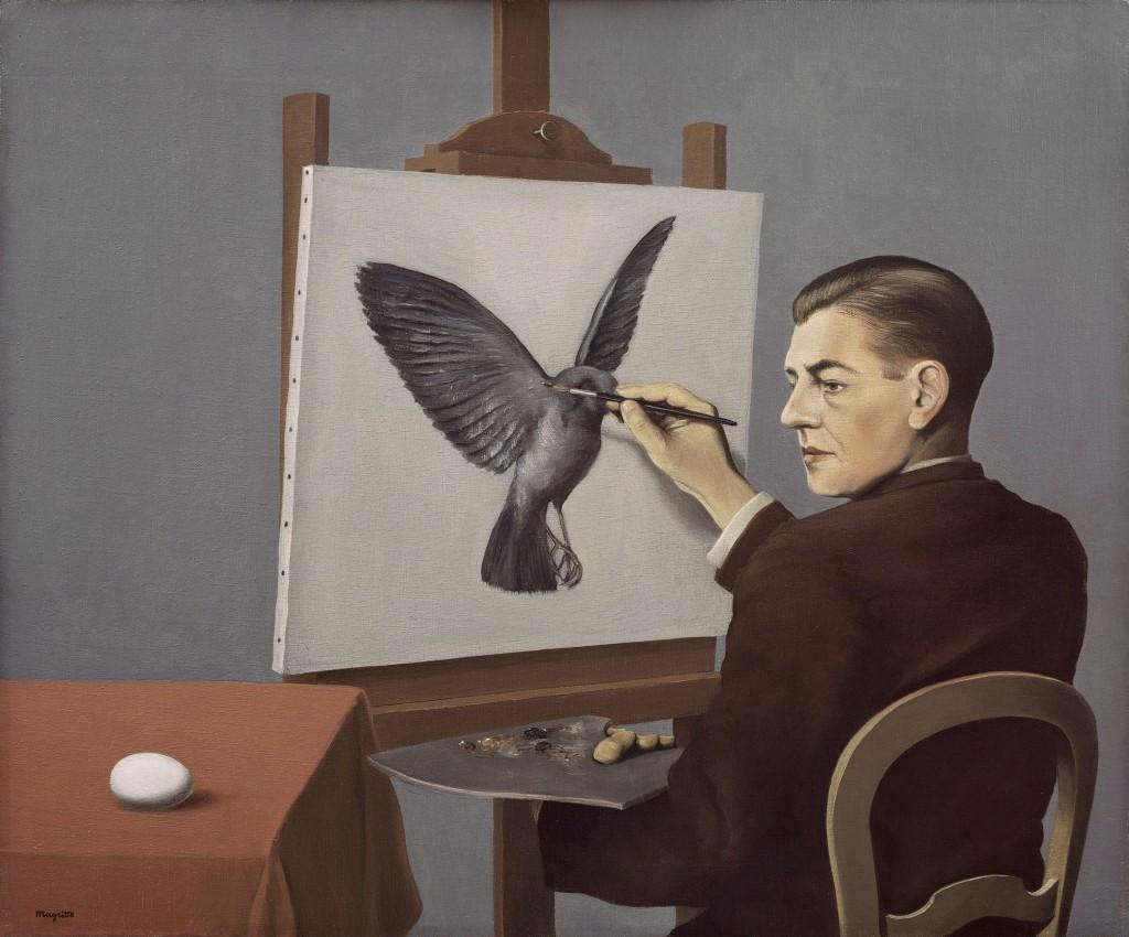 """René Magritte. """"Clairvoyance (La Clairvoyance),"""" oil on canvas, 1936"""