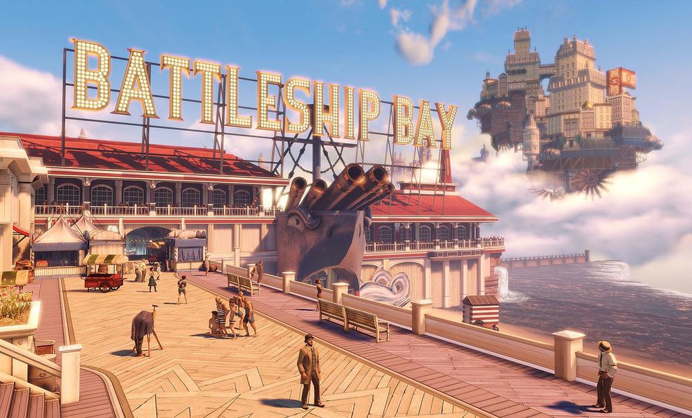"""Battleship Bay"" from Irrational Games, digital art print, 39"" x 70"""