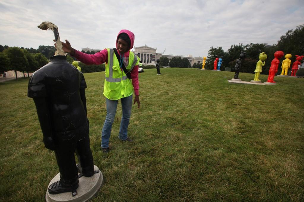 """clean up after vandalism of Hebru Brantley's """"The Watch"""""""