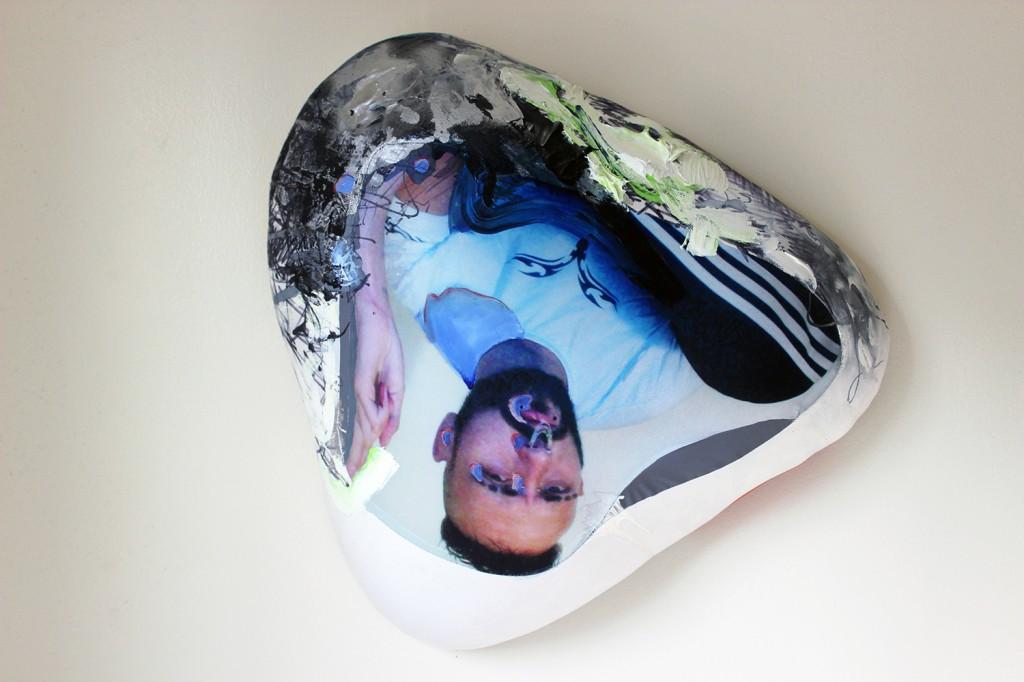"""Blob Portrait: Lenny no. 3,"" acrylic, nail polish, spray paint on digitally printed spandex with plethora, reflective fabric"