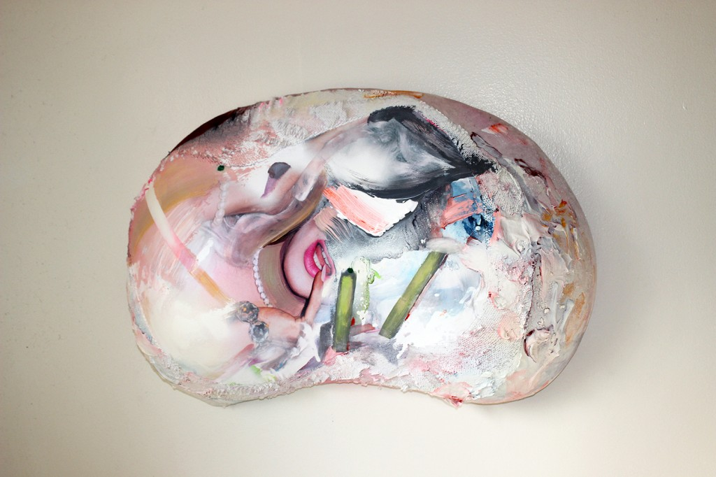 """""""Pearl,"""" acrylic and nail polish on digitally printed spandex, sequins, and velvet"""