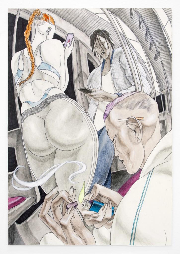 "David Rappeneau. ""Untitled,"" acrylic ballpoint pen, pencil, charcoal pencil, and fluorescent marker, 2014"