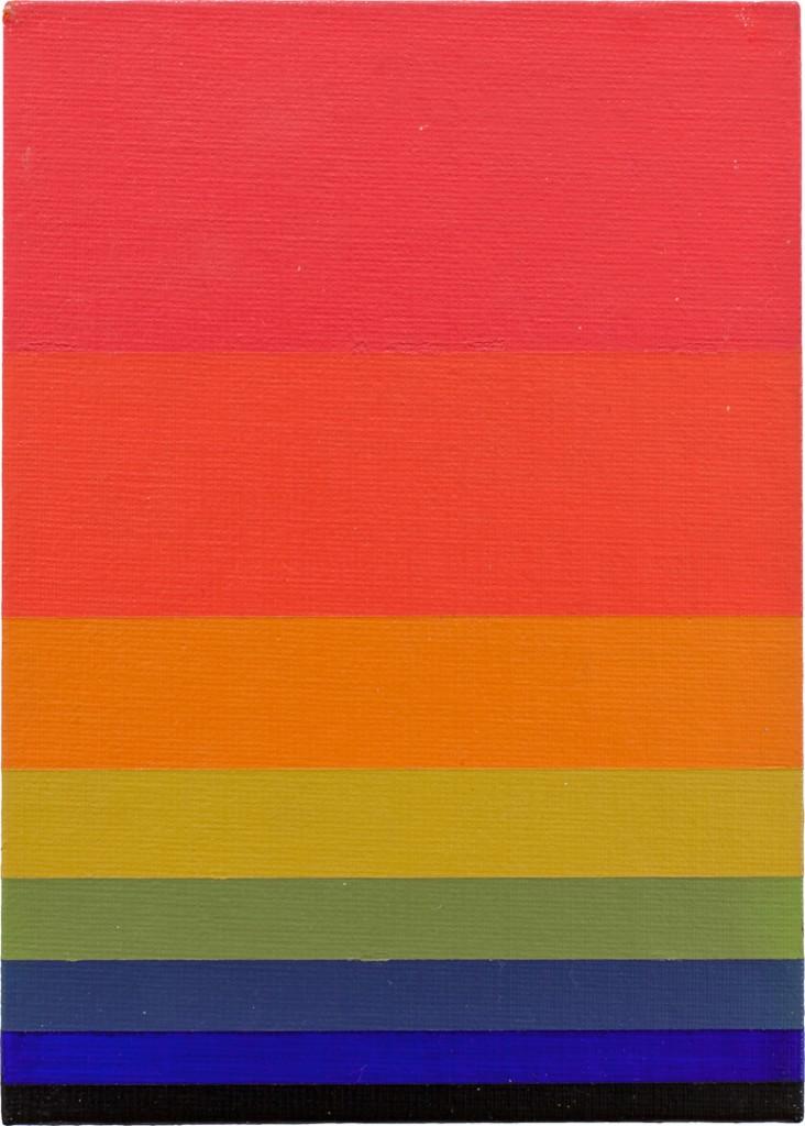 "Norman Zammitt. ""Red to Green I,"" acrylic on canvas board, 1979"