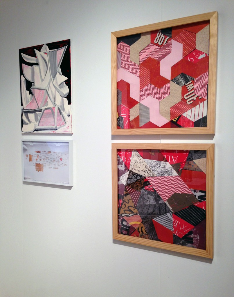 Works by Andrew Holmquist (top left), Nicole Wilson (bottom left) and collages by Esau McGhee (right). (Booth #814)
