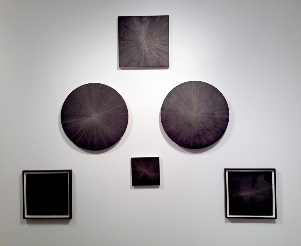 Installation of silverpoint on panel works by Michelle Grabner (Booth #200)