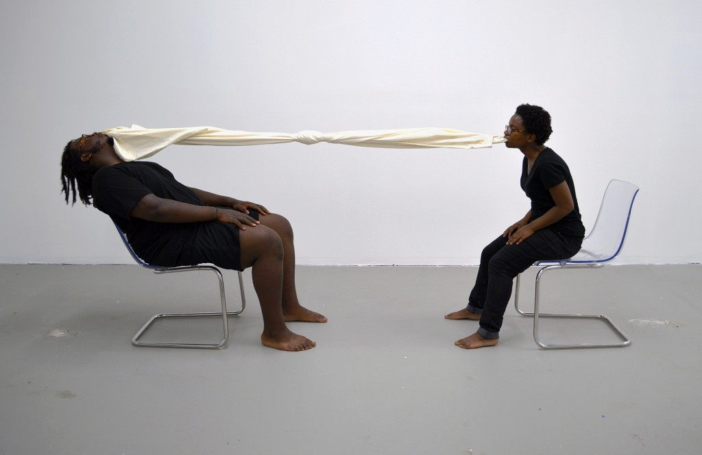"James T. Green and C'ne Rohlsen. ""How Did You Sleep,"" performance still, photo by Meredith Weber"