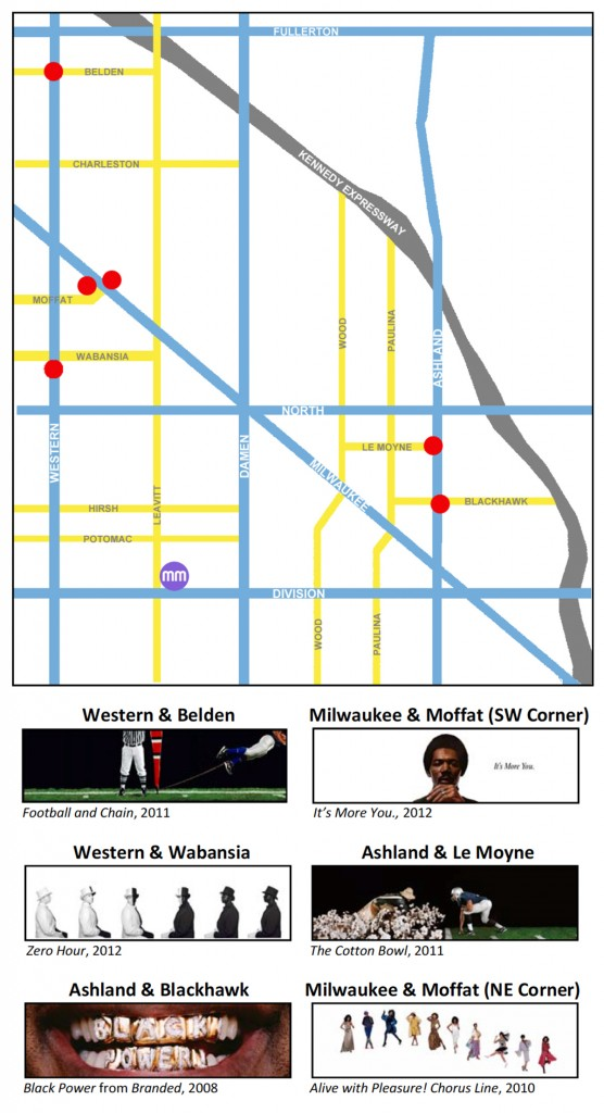 """map of the locations of Hank Willis Thomas' """"Bench Marks"""" art projects"""