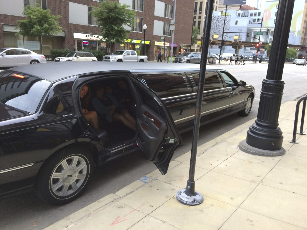 "Chicago artist Heather Mekkelson in one of the stretch limousines used for Erik Peterson's ""Stretch limo (94)"""