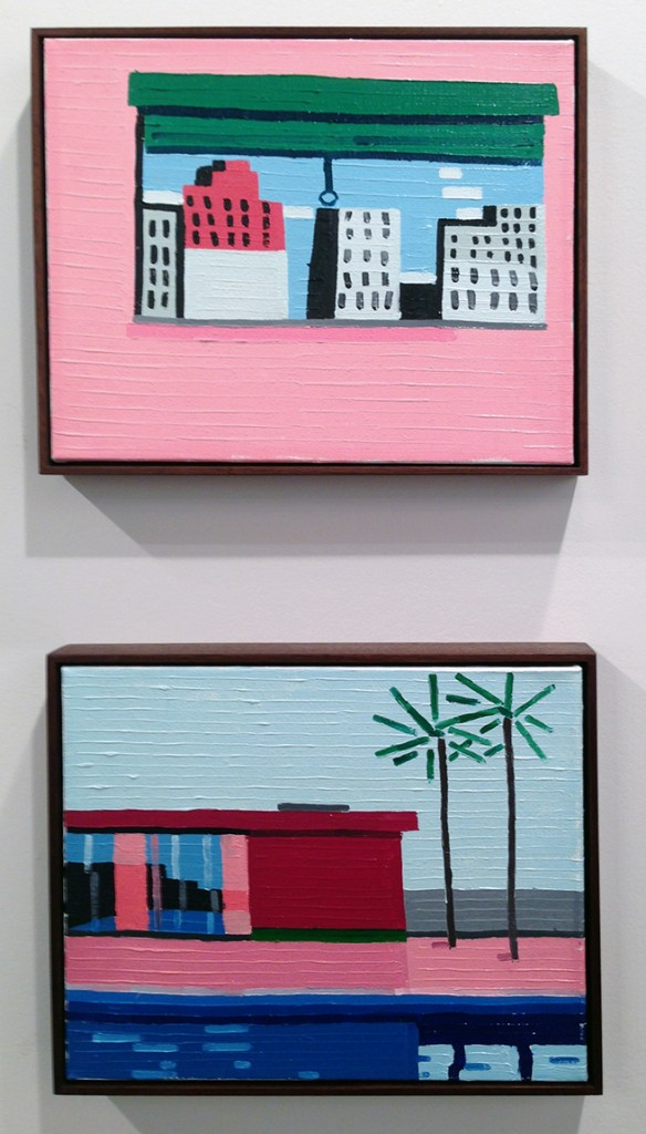 "Guy Yanai. ""The Window (After P.G.),"" 2014, and ""House,"" 2014, both works oil on linen. (Ameringer 