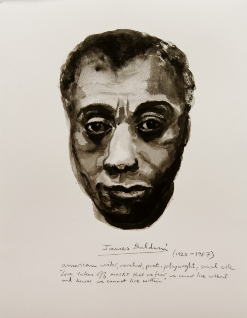 "Marlene Dumas. Detail from ""Great Men"" (James Baldwin), 2014, ink and pencil on paper"
