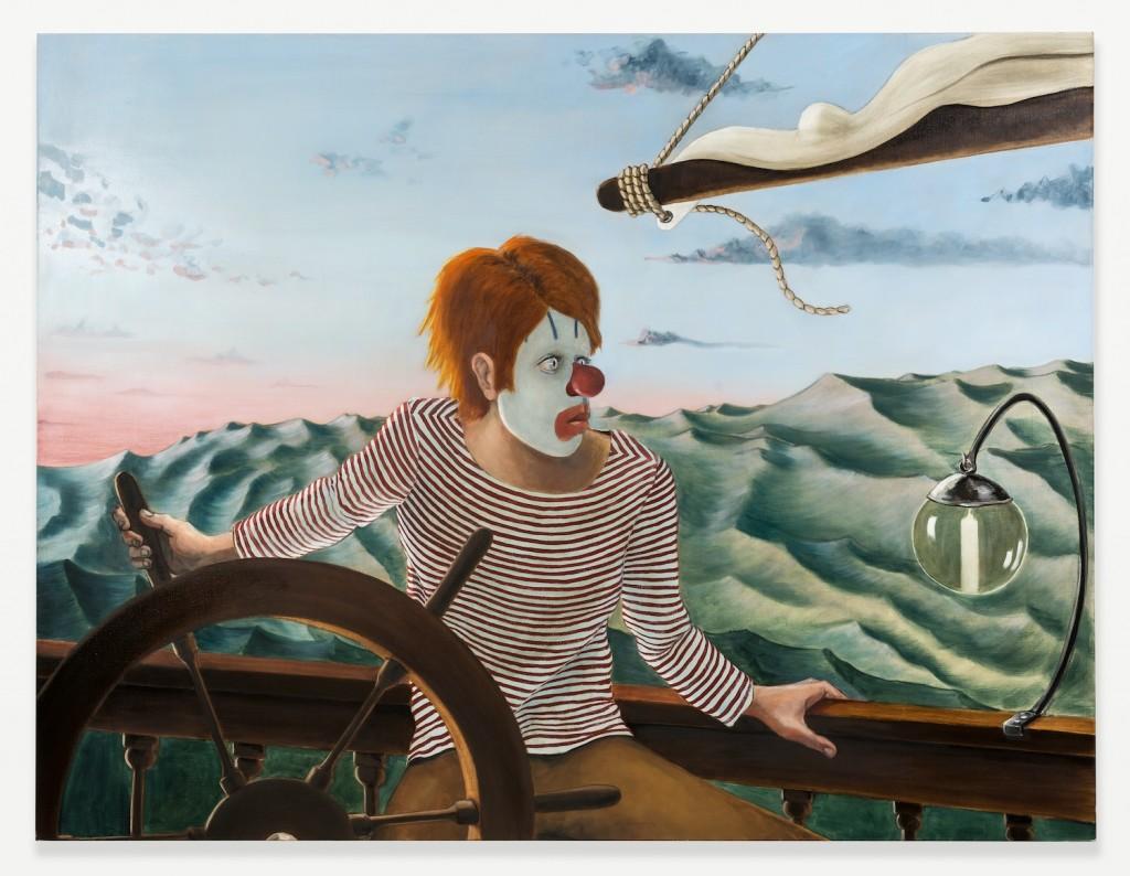 "Sean Landers. ""Around the World Alone (Boy Skipper - Dawn),"" 2011, oil on linen, 52h x 68w in."