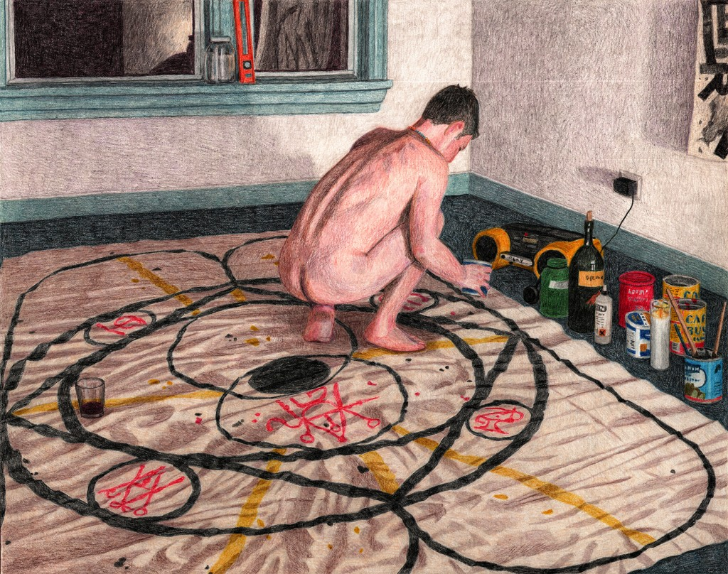 "Elijah Burgher. ""'6 organs' ritual,"" colored pencil on paper, 2013"