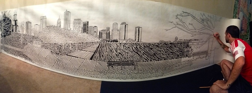Matthew Haussler at work on his attempt to break the world record for longest hand drawn maze