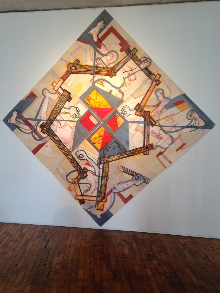 """John Henley painting in Heven Gallery's """"Burn It Down"""""""