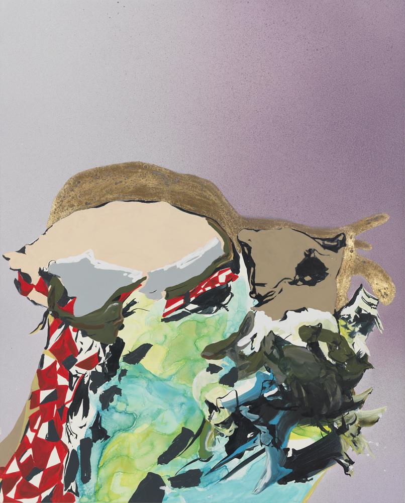 "Kim Piotrowski. ""New Companion,"" 2013, acrylic ink, gold leaf, flashe and enamel on panel"