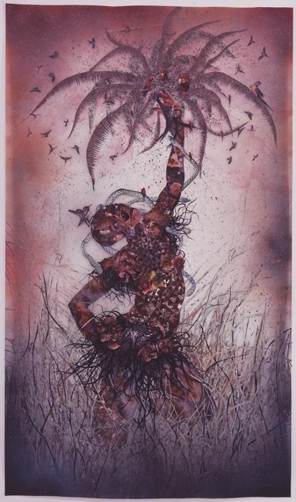 """Wangechi Mutu. """"Le Noble Savage,"""" 2006,  ink and collage on Mylar"""