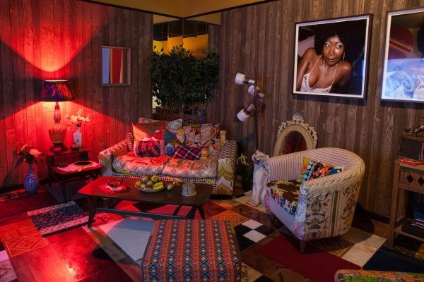 """Mickalene Thomas. Installation view of """"I was born to do great things"""""""