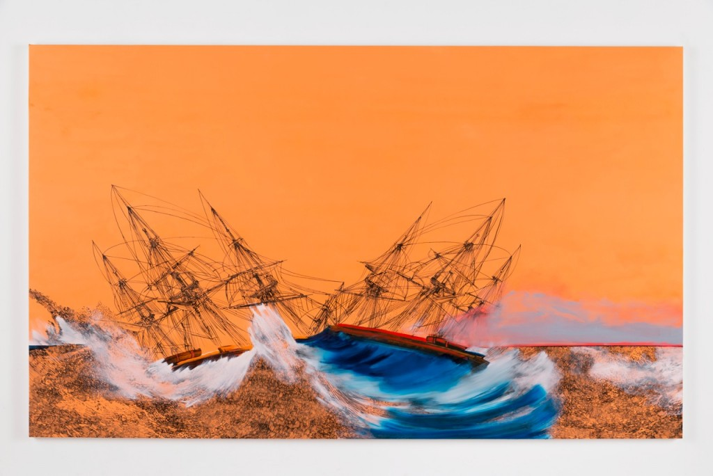 """Whitney Bedford. """"Ships (Inviting Catastrophe),"""" 2014, ink and oil on canvas on panel, 72"""" x 120"""". Photo by Evan Bedford"""
