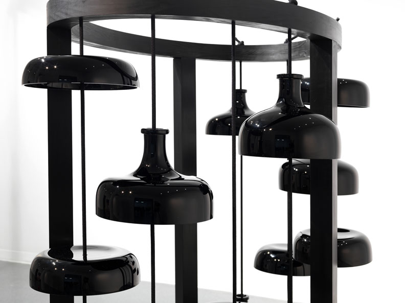 """Josiah McElheny. """"Black Cloud Chamber,"""" 2014, handblown and polished glass, Sumi inked clear pine, rope, felt, hardware 71 x 68 x 45 inches"""