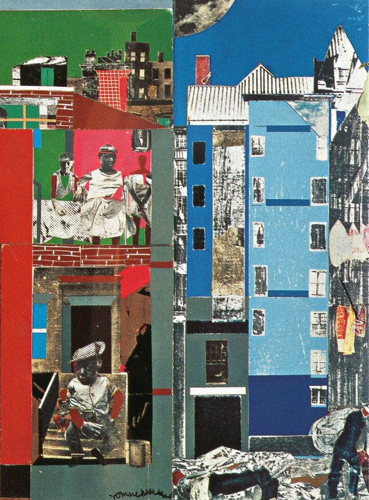 """Romare Bearden. """"The Block II"""" (detail), 1972. Collection of Walter O. and Linda J. Evans"""
