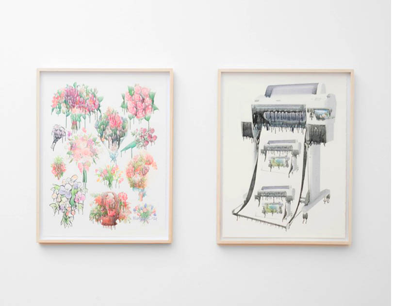 """Aron Gent. Both works """"Untitled,"""" 2014,  Epson UltraChrome K3 ink on Arches hot press watercolor paper,"""