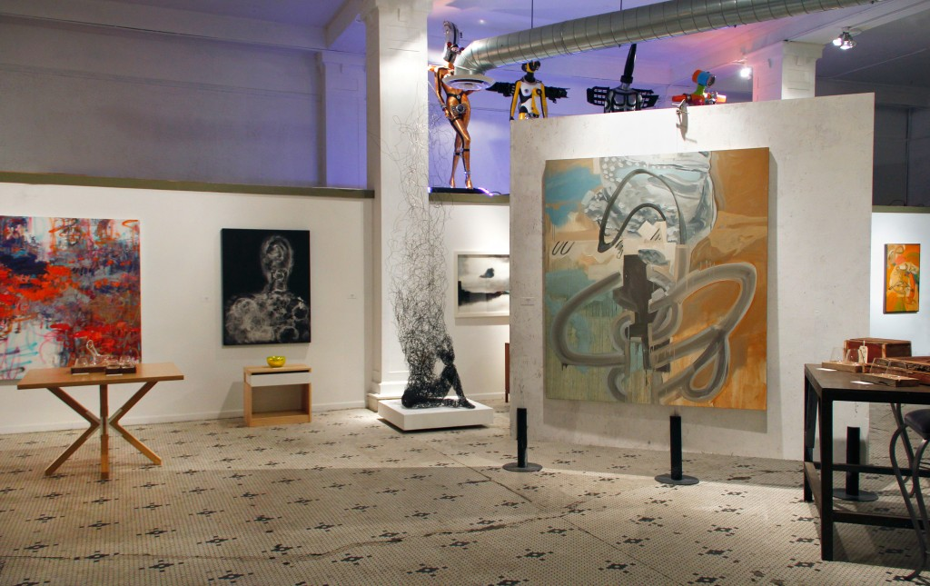 Installation view of mixed media work in Motor Row Gallery's inaugural group exhibition