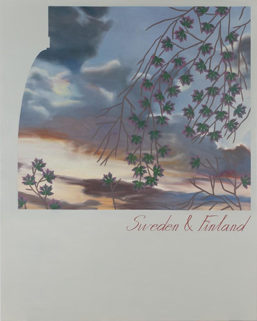 "Lucy McKenzie. ""Sweden & Finland (Phallic map mural for brasserie scene in unrealized Kubrick film),"" 2014"