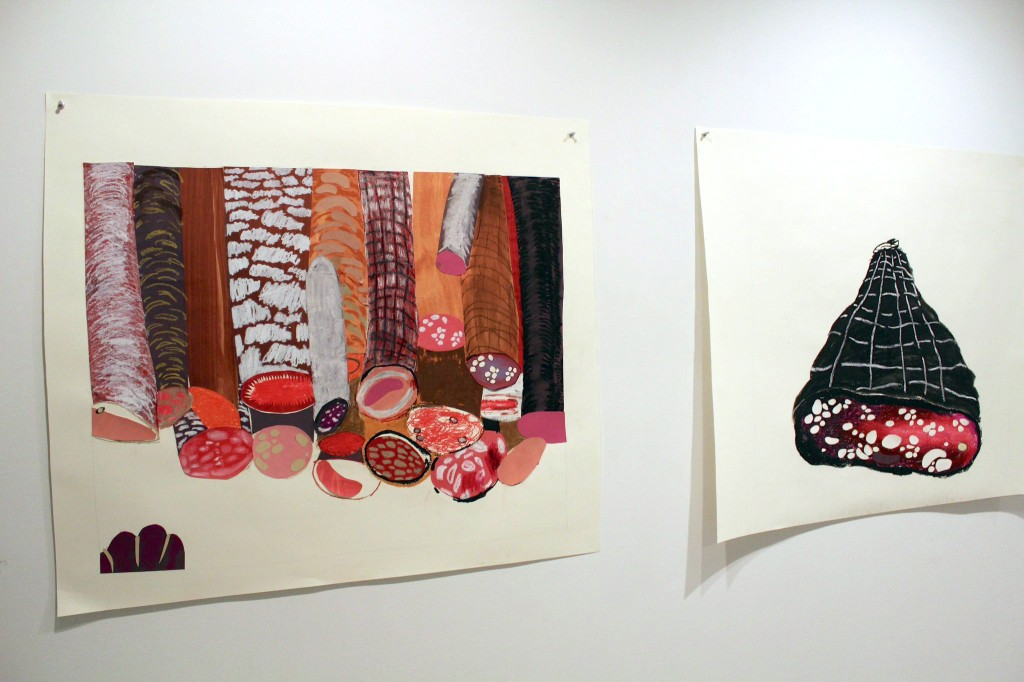 "Installation view of Ji Soo Hong's collages in ""Thick slide, decadent ration,"" at Slow"