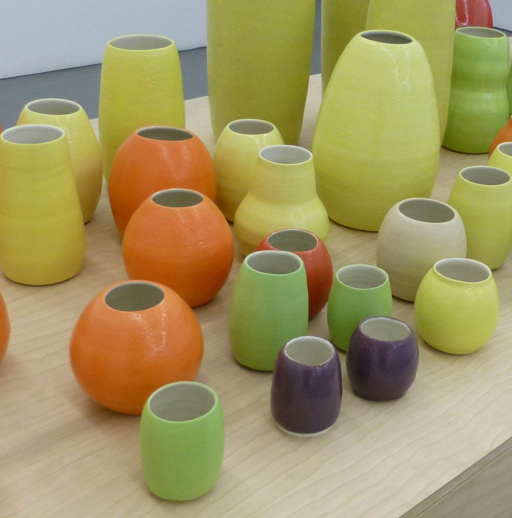 Shia Kusaka. Detail view of installation of pots currently on view at Shane Campbell Gallery.