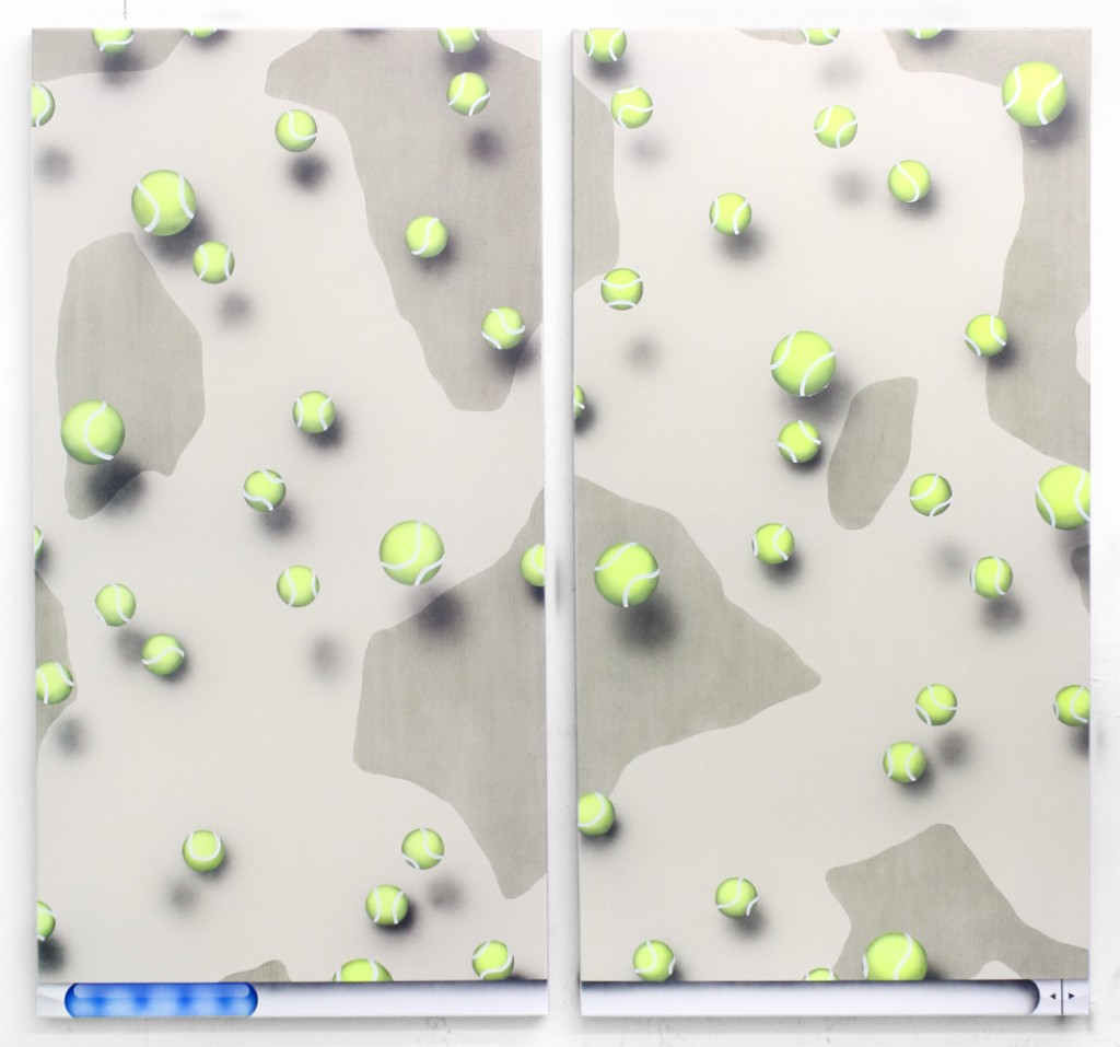 "Josh Reames. ""Infinite Scroll (#1)"" and ""Infinite Scroll (#2),"" both 2014, acrylic on canvas"