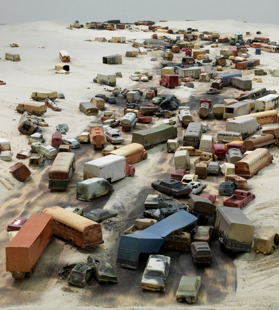"""Alison Ruttan. """"A Line in the Sand,"""" 2015, installation view at the Chicago Cultural Center"""